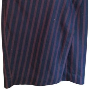 Striped maroon and navy skirt